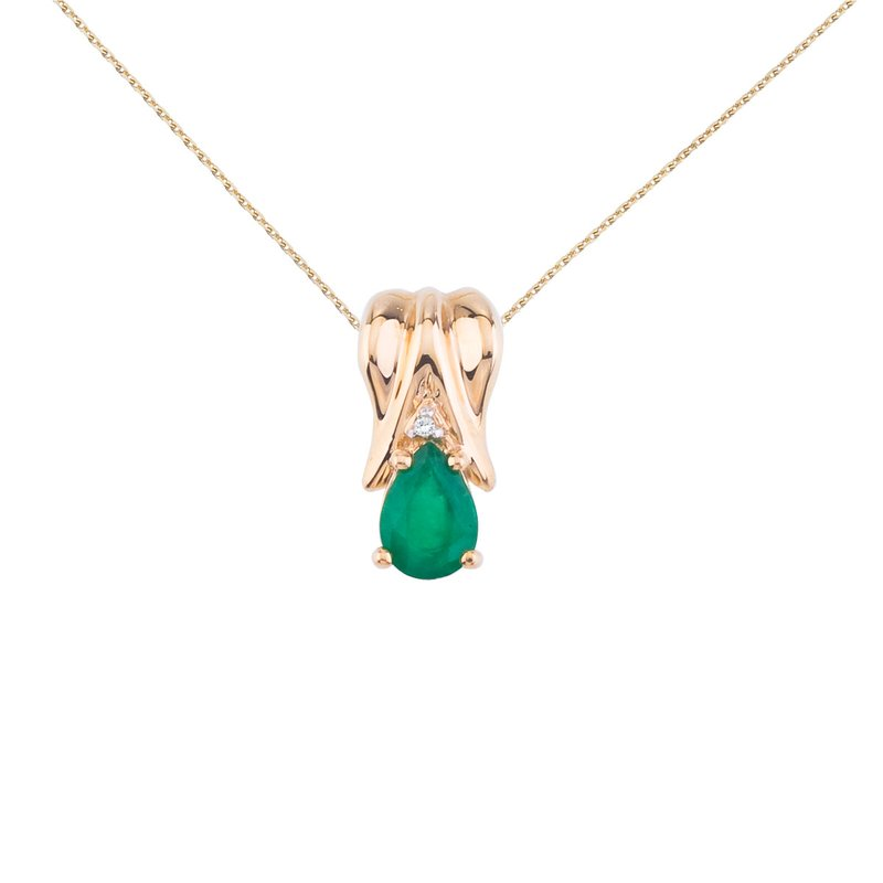 Color Merchants 14k Yellow Gold Emerald Pear Pendant with Diamonds
