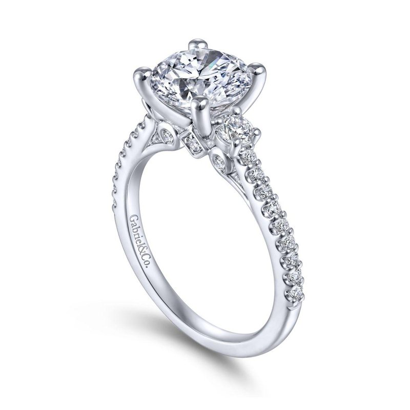 Gabriel Bridal 14K White Gold Round Three Stone Diamond Engagement Ring