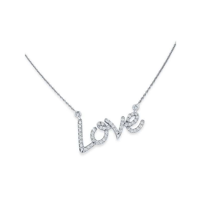 KC Designs Diamond Love Necklace in 14k White, Yellow and Rose Gold with 50 Diamonds weighing .27ct tw.