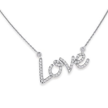 Diamond Love Necklace in 14k White, Yellow and Rose Gold with 50 Diamonds weighing .27ct tw.