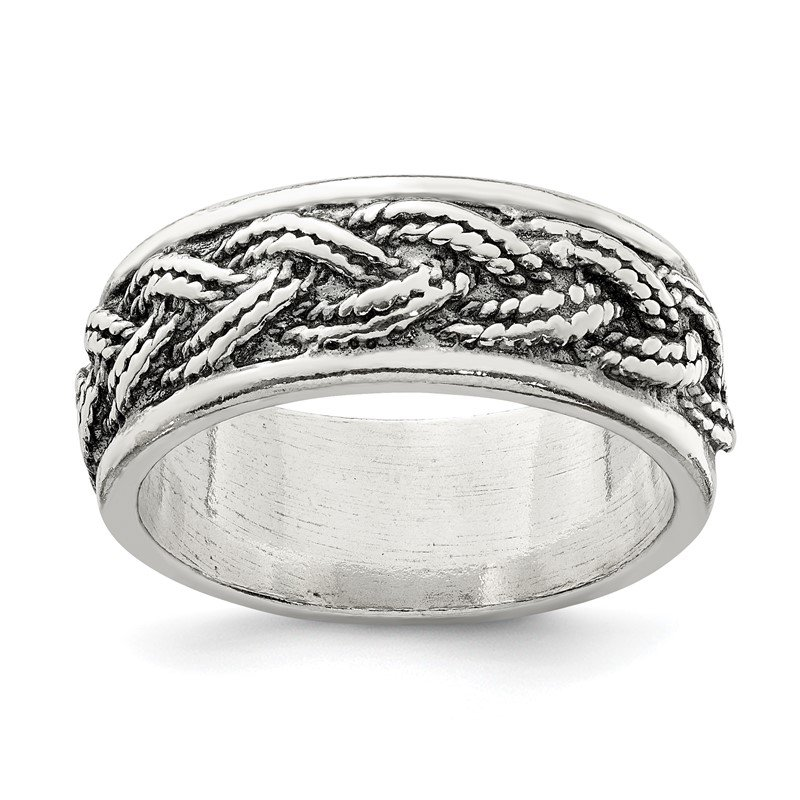 Quality Gold Sterling Silver Rope Weave Design Ring