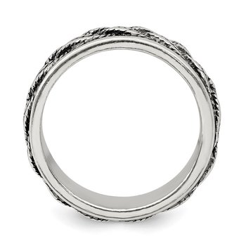 Sterling Silver Rope Weave Design Ring