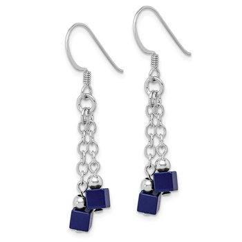 Sterling Silver Rhodium-plated Created Lapis Dangle Earrings