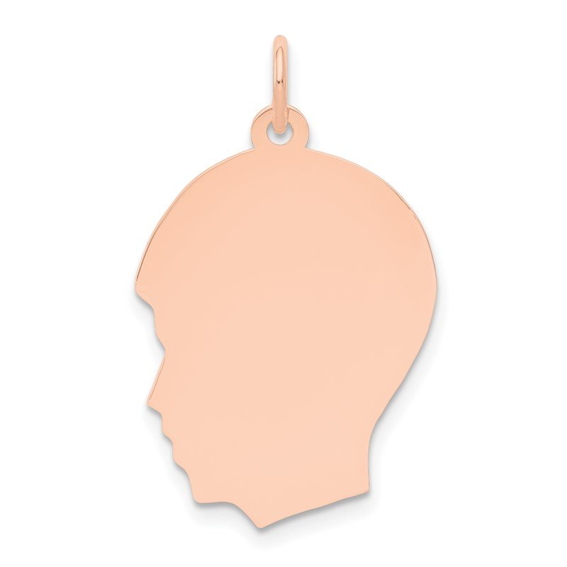 14k Rose Plain Medium.013 Gauge Facing Left Engraveable Boy Head Charm