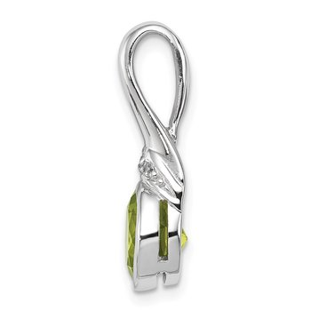 Sterling Silver Rhodium-plated w/CZ and Peridot Pendant