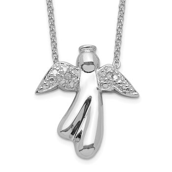 Sterling Silver Rhodium-plated Diamond Angel Necklace