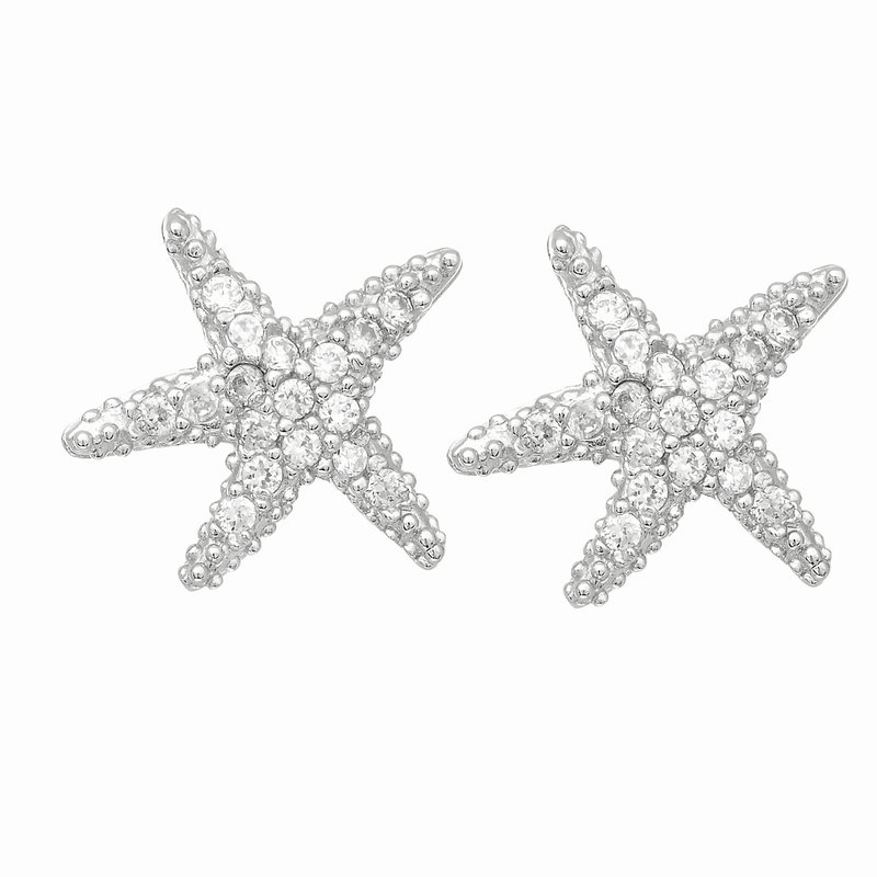 Royal Chain Silver Mini CZ Starfish Stud Earrings