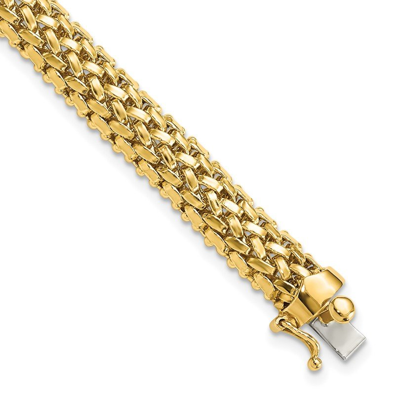 Quality Gold 14k 7.25in 6.75mm Polished Mesh Bracelet