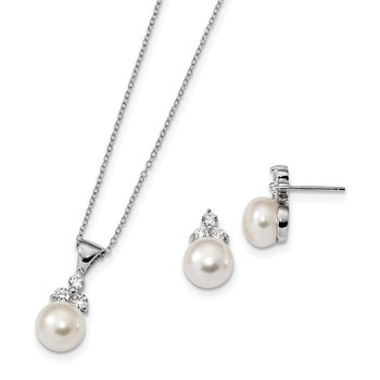 Sterling Silver Rhodium-plated 9-10mm Coin FWCPearl CZ Earring/Necklace Set