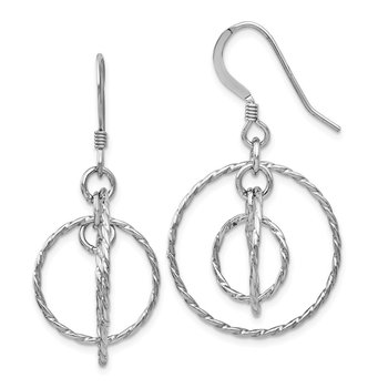 Leslie's Sterling Silver Textured Shepherd Hook Dangle Earrings