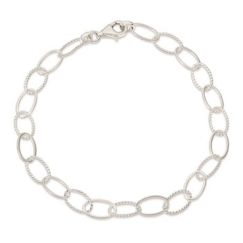 Sterling Silver Fancy Link Anklet