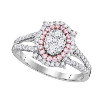 14kt White Gold Womens Round Pink Diamond Oval Cluster Ring 3/4 Cttw