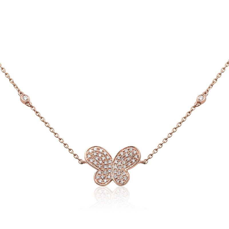 Roman & Jules Rose Gold Butterfly Necklace
