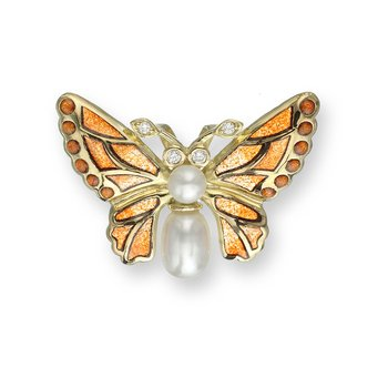 Orange Butterfly Pendant.18K -Diamond and Freshwater Pearl - Plique-a-Jour