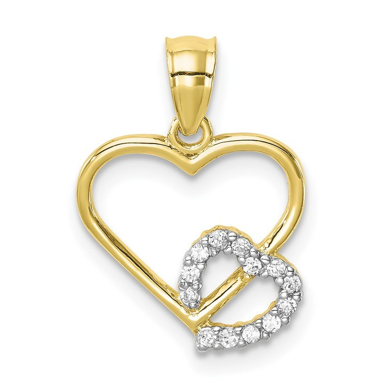 Quality Gold 10K CZ Heart in Heart Pendant