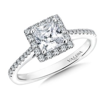Square shape halo mounting  .26 ct. tw.,  1 ct. Princess cut center.