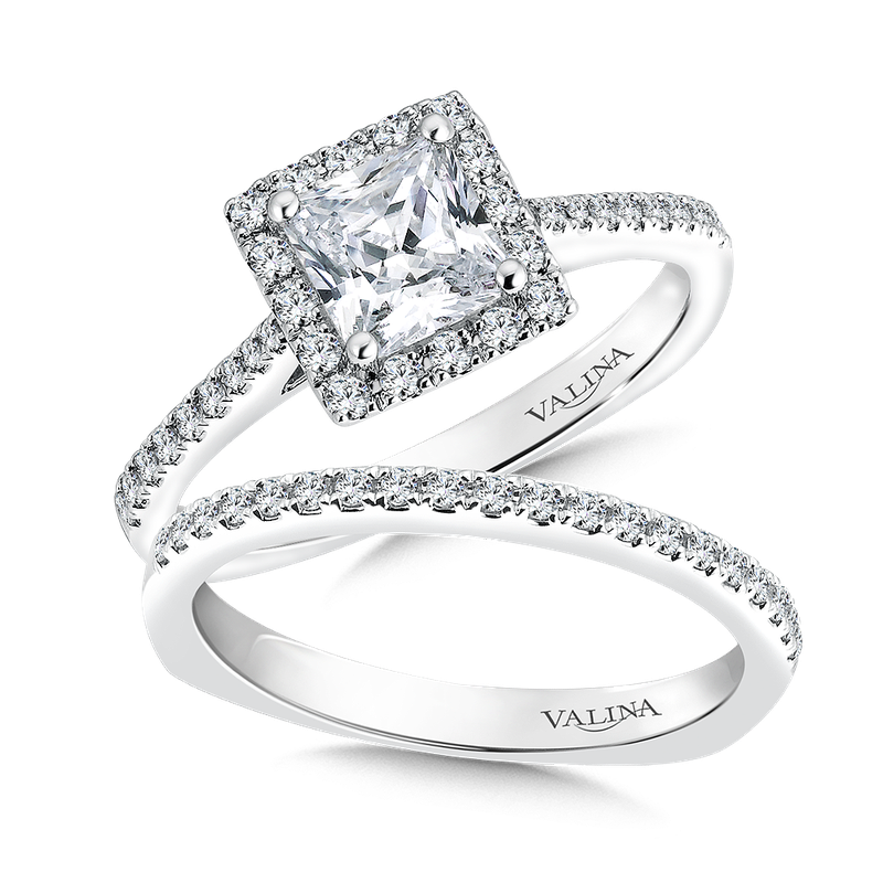 Valina Square shape halo mounting  .26 ct. tw.,  1 ct. Princess cut center.