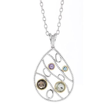 Sterling Silver and 14K Yellow Gold Pendant with Semi-Precious Stoness