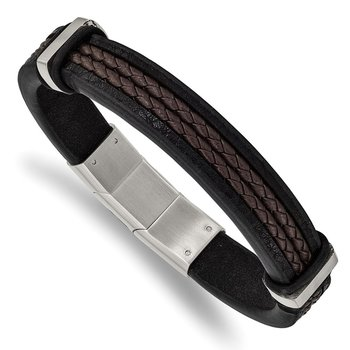 Stainless Steel Polished Black/Brown Braided Leather w/.5in ext. Bracelet