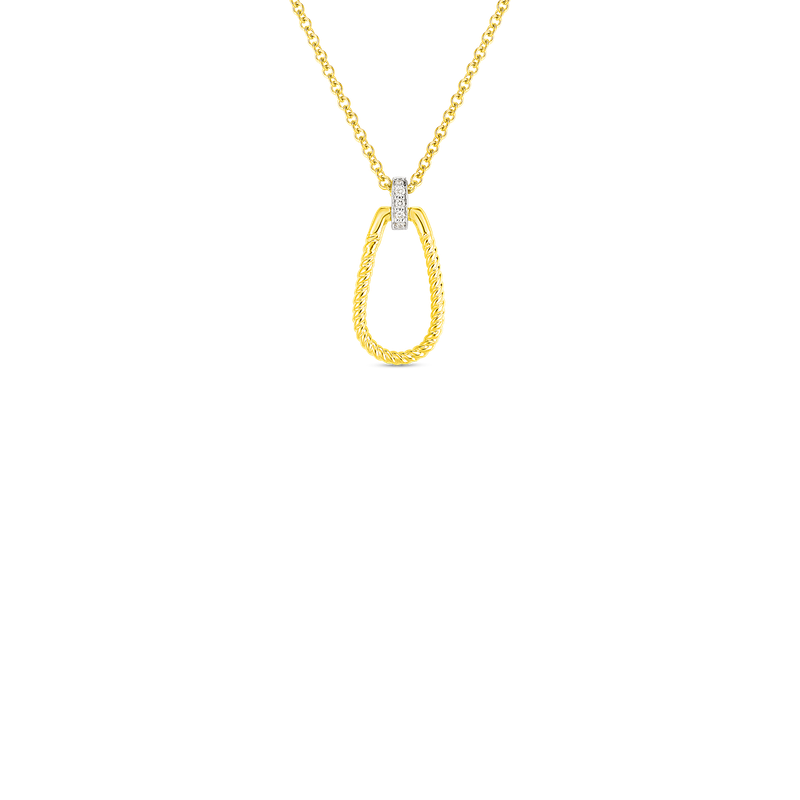 Roberto Coin  #28958 Of 18K Sm Twisted Stirrup With Dia Bale Pendant