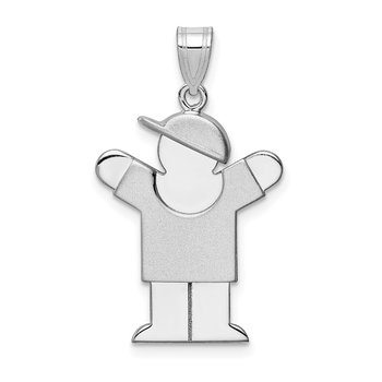 14k White Gold Medium Boy w/Hat on Right Engravable Charm