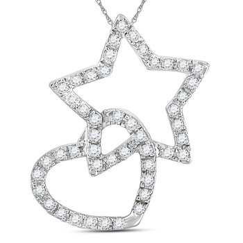 14kt White Gold Womens Round Diamond Linked Star Heart Pendant 1/8 Cttw