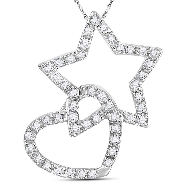 Kingdom Treasures 14kt White Gold Womens Round Diamond Linked Star Heart Pendant 1/8 Cttw