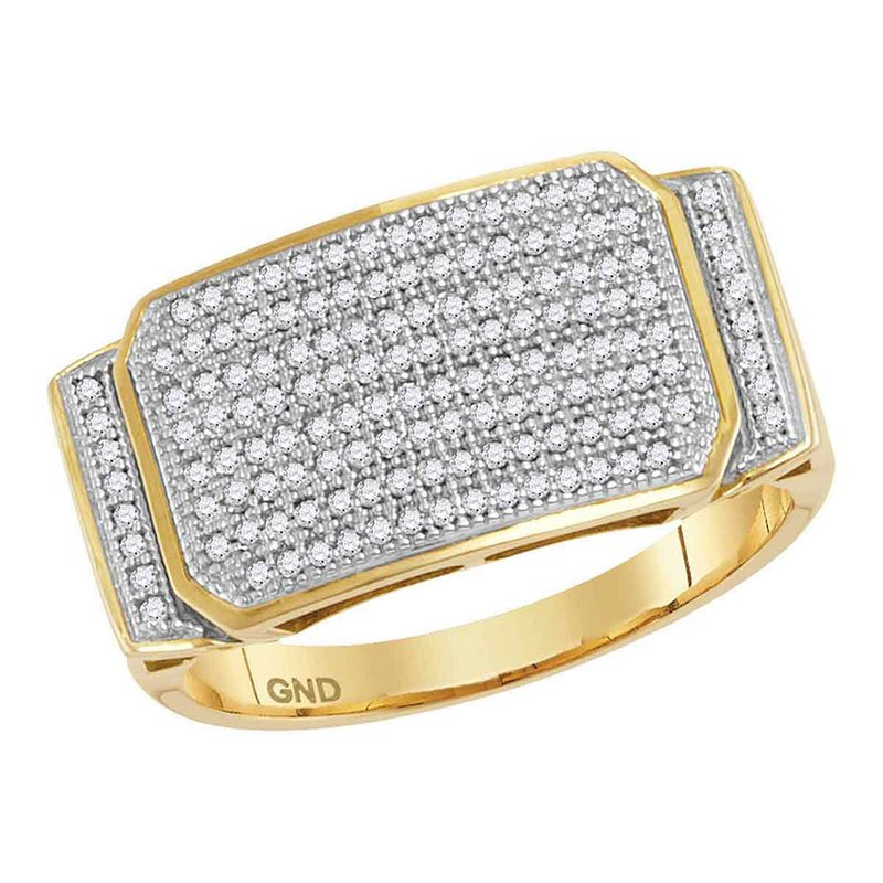 Gold-N-Diamonds, Inc. (Atlanta) 10kt Yellow Gold Mens Round Pave-set Diamond Rectangle Cluster Ring 1/2 Cttw