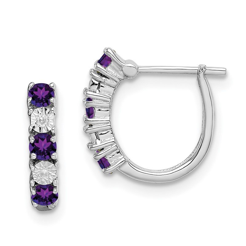 Quality Gold Sterling Silver Rhodium-plated Amethyst & Diamond Earrings