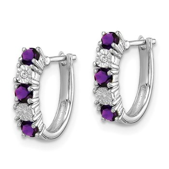 Sterling Silver Rhodium-plated Amethyst & Diamond Earrings
