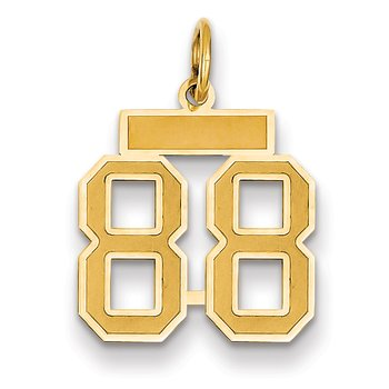 14k Small Satin Number 88 Charm