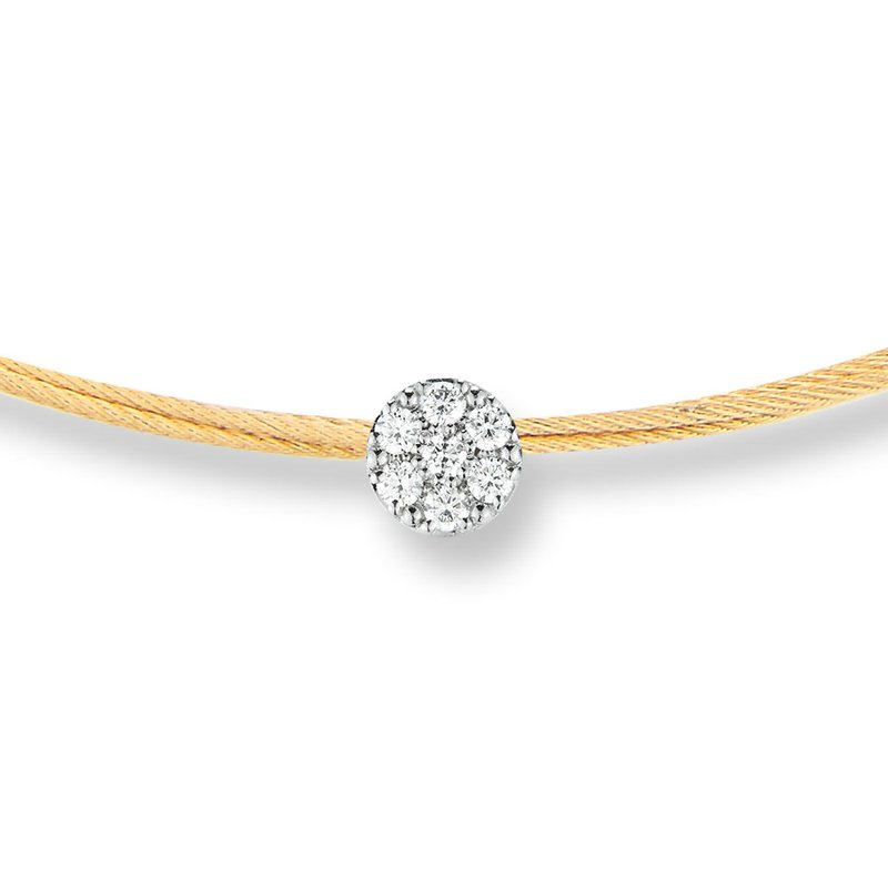 ALOR Yellow Cable Disco Choker Necklace with 18kt White Gold & Diamonds