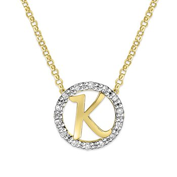 "Gold and Diamond Mini Halo ""K"" Initial Necklace"