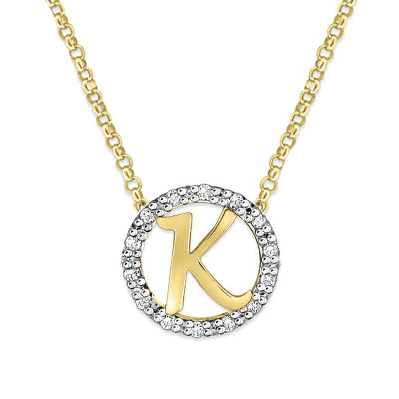 "KC Designs Gold and Diamond Mini Halo ""K"" Initial Necklace"