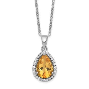 Sterling Silver Rhodium Polished Citrine & CZ Necklace