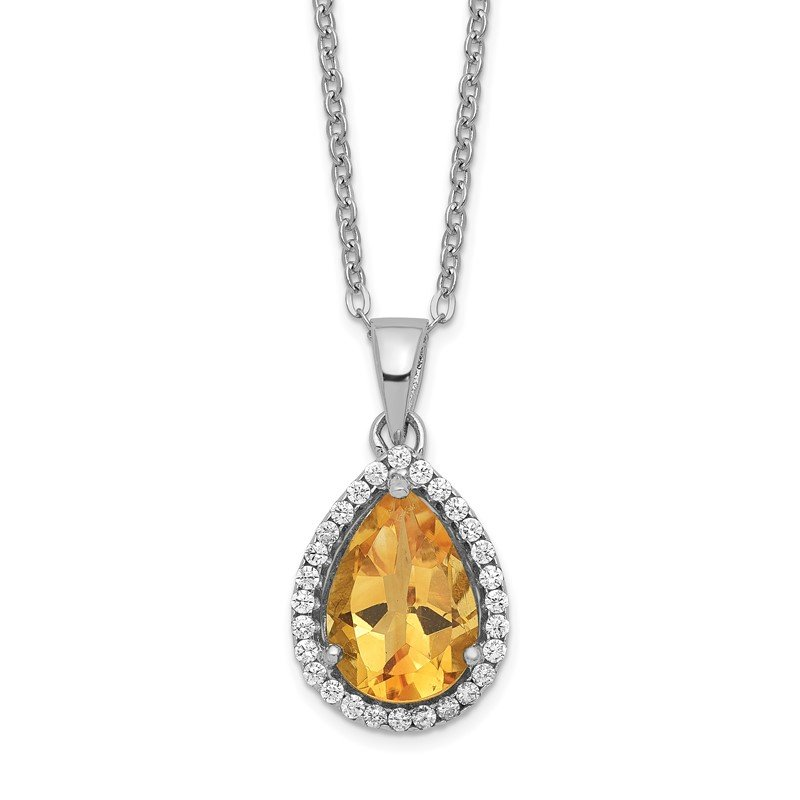Quality Gold Sterling Silver Rhodium Polished Citrine & CZ Necklace