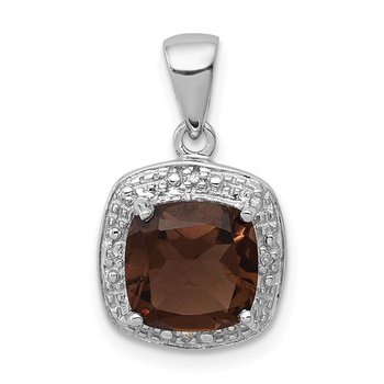 Sterling Silver Rhodium Smoky Quartz & Diamond Pendant