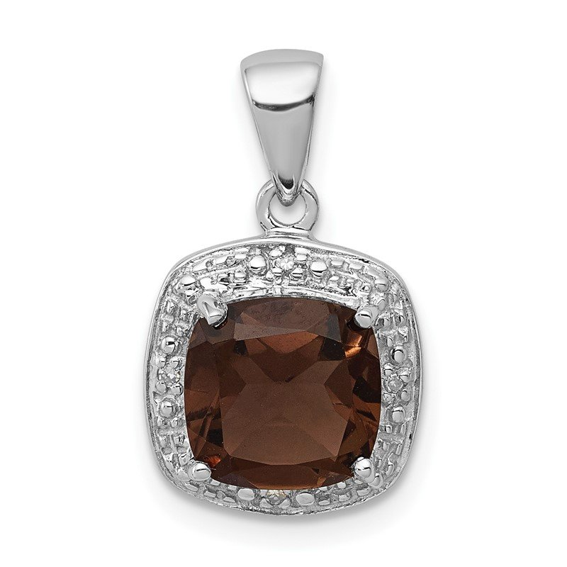 Quality Gold Sterling Silver Rhodium Smoky Quartz & Diamond Pendant