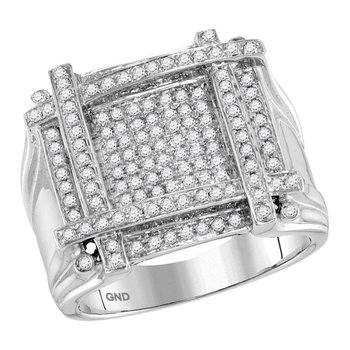 10kt White Gold Mens Round Diamond Square Cluster Ring 7/8 Cttw