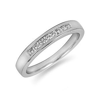 18K WG Diamond Wedding Band-9 stone-channel set 0.15