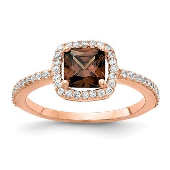 Cheryl M Sterling Silver Rose Gold-plated Brilliant-cut Cocoa CZ Ring