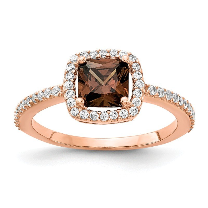 Cheryl M Cheryl M Sterling Silver Rose Gold-plated Brilliant-cut Cocoa CZ Ring
