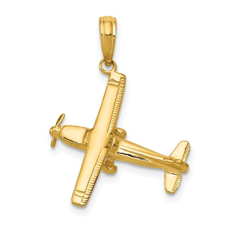 Quality Gold 14k 3-D High-Wing Airplane Pendant