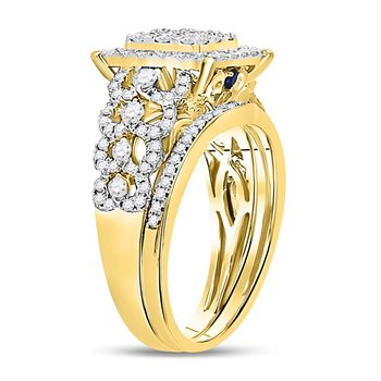 14kt Yellow Gold Womens Round Diamond Vintage-inspired Bridal Wedding Engagement Ring Band Set 1.00 Cttw
