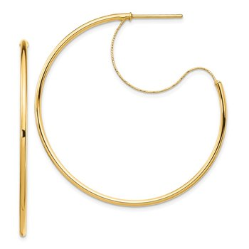 14K 1.5x40mm Polished with D/C wire Hoop Earrings