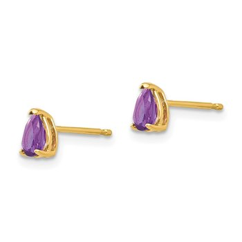 14k 5x3mm Pear Amethyst Earrings