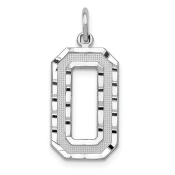 14kw Casted Large Diamond Cut Number 0 Charm