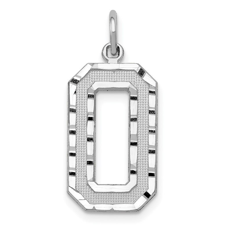 Quality Gold 14kw Casted Large Diamond Cut Number 0 Charm