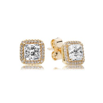 Timeless Elegance Stud Earrings, 14K Gold Clear Cz