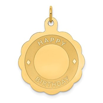 14k HAPPY BIRTHDAY Disc Pendant